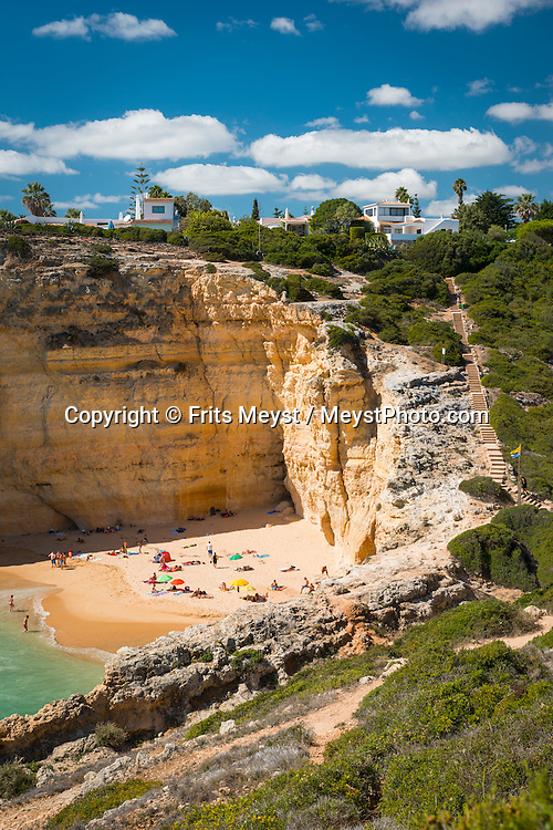 Algarve, Portugal, October 2014. Praia do Carvalho.  A spectacular coastline of steep sandstone cliffs borders hidden sandy beaches on the south western tip of Europe, where the Mediterranean becomes the Atlantic Ocean.  Photo by Frits Meyst / MeystPhoto.com