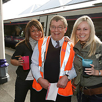 Perth Rail Staff Deal with people travelling to T in the Park. 7-9 July 2007.<br /> Scotrail employee Ian McKeith pictured with Michelle Small (left) and Kirsty O'Brien who travelled from Gourock.<br /> Picture by Graeme Hart.<br /> Copyright Perthshire Picture Agency<br /> Tel: 01738 623350  Mobile: 07990 594431