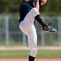 25 April 2010: Joris Bert of Rouen pitches against the PUC during game 1/week 3 of the French Elite season won 12-4 by Rouen over the PUC, at the Pershing Stadium in Vincennes, near Paris, France.