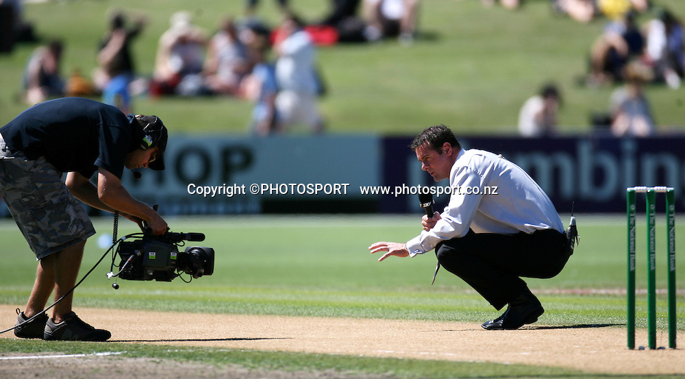 Sky Sport's Simon Doull checks the wicket before the match. New Zealand Black Caps v Australia. 1st ODI, Chappell-Hadlee Trophy Series. McLean Park, Napier. Wednesday 03 March 2010  Photo: John Cowpland/PHOTOSPORT