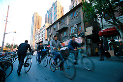 CHINA SHANGHAI NOV01 - Cyclists on the road in downtown Shanghai.. . . jre/Photo by Jiri Rezac. . © Jiri Rezac 2001. . Contact: +44 (0) 7050 110 417. Mobile:  +44 (0) 7801 337 683. Office:  +44 (0) 20 8968 9635. . Email:   jiri@jirirezac.com. Web:     www.jirirezac.com