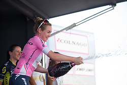 Anna van der Breggen (NED) of Boels-Dolmans Cycling Team celebrates winning the 28th Giro Rosa after Stage 10 of the Giro Rosa - a 124 km road race, starting and finishing in Torre Del Greco on July 9, 2017, in Naples, Italy. (Photo by Balint Hamvas/Velofocus.com)