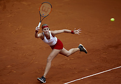 May 9, 2018 - Madrid, Madrid, Spain - Kristina Mladenovic of France in action in her match against Maria Sharapova of Russia during day five of the Mutua Madrid Open tennis tournament at the Caja Magica on May 9, 2018 in Madrid, Spain  (Credit Image: © David Aliaga/NurPhoto via ZUMA Press)