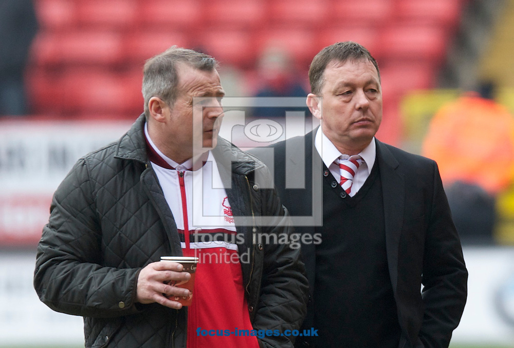 Picture by Alan Stanford/Focus Images Ltd +44 7915 056117.23/02/2013.Manager Billy Davies (right)of Nottingham Forest with former coach Ian McFarland before the npower Championship match at The Valley, London.
