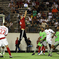 Puerto Rico United Goalkeeper Jose Miranda Boudy (14) makes a save during a United Soccer League Pro soccer match between Puerto Rico United and the Orlando City Lions at the Florida Citrus Bowl on April 22, 2011 in Orlando, Florida.  (AP Photo/Alex Menendez)