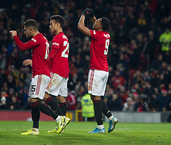 Anthony Martial of Manchester United (R) celebrates scoring his sides third goal - Mandatory by-line: Jack Phillips/JMP - 18/12/2019 - FOOTBALL - Old Trafford - Manchester, England - Manchester United v Colchester United - English League Cup Quarter Final