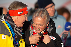 24.02.2019, Bergiselschanze, Innsbruck, AUT, FIS Weltmeisterschaften Ski Nordisch, Seefeld 2019, Skisprung, Herren, Teambewerb, Wertungssprung, im Bild v.l.: Walter Hofer (FIS Skisprung Renndirektor), Hans Pum (ÖSV Sportdirektor) // f.l.: Walter Hofer (FIS Ski Jumping Race Director) Hans Pum Austrian Ski Association sporting director during the competition jump for the men's skijumping Team competition of FIS Nordic Ski World Championships 2019 at the Bergiselschanze in Innsbruck, Austria on 2019/02/24. EXPA Pictures © 2019, PhotoCredit: EXPA/ Dominik Angerer