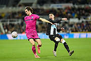 Michael Jordan Williams of Rochdale AFC and Miguel Almiron of Newcastle United during the The FA Cup third round replay match between Newcastle United and Rochdale at St. James's Park, Newcastle, England on 14 January 2020.