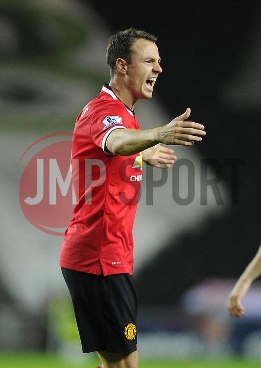 Manchester United's Jonny Evans - Photo mandatory by-line: Joe Meredith/JMP - Mobile: 07966 386802 26/08/2014 - SPORT - FOOTBALL - Milton Keynes - Stadium MK - Milton Keynes Dons v Manchester United - Capital One Cup