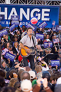 Singer Bruce Springsteen plays before Democratic presidential nominee U.S. Sen. Barack Obama (D-IL) speaks during a campaign rally at the Cleveland Mall November 2, 2008 in Cleveland, Ohio. Obama continues to campaign against Republican presidential nominee Sen. John McCain (R-AZ) with Election Day two days away.  Photo by Bryan Rinnert/3Sight Photography