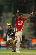 Sandeep Sharma of the Kings X1 Punjab appeals successfully for the wicket of Manish Pandey of the Kolkata Knight Riders during match 15 of the Pepsi Indian Premier League 2014 Season between The Kings XI Punjab and the Kolkata Knight Riders held at the Sheikh Zayed Stadium, Abu Dhabi, United Arab Emirates on the 26th April 2014<br /> <br /> Photo by Ron Gaunt / IPL / SPORTZPICS