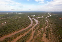 Aerial view of the bridge over the Fitzroy River at Willare