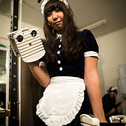 TOKYO, JAPAN - APRIL 2 : Ruby Hataoka one of the maid gym coach pose for a photo during a training workshop of gym instructors in Akihabara on April 2, 2017, Tokyo, Japan. Japan is unveiling a gym where you work out with and get coached by maids on one-on-one training assistance. Maid gym is now accepting advance reservation and it will be open first week of May 2017.  (Photo by Richard Atrero de Guzman/NUR Photo)