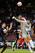 Picture by David Horn/Focus Images Ltd +44 7545 970036.21/08/2012.Jimmy Smith of Leyton Orient is prevented scoring by Stevenage goalkeeper Chris Day during the npower League 1 match at the Matchroom Stadium, London.