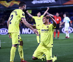 March 14, 2019 - Villarreal, Spain - Carlos Bacca of Villarreal CF (R) celebrate after scoring the 2-0 goal with his teammate Mario Gaspar of Villarreal CF (L) during UEFA Europa league match between Villarreal CF vs Zenit  at La Ceramica Stadium on March 14, 2019. (Credit Image: © Jose Miguel Fernandez/NurPhoto via ZUMA Press)