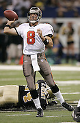 NEW ORLEANS - OCTOBER 10:  Quarterback Brian Griese #8 of the Tampa Bay Buccaneers unloads a pass against the New Orleans Saints at the Louisiana Superdome on October 10, 2004 in New Orleans, Louisiana. Griese filled in for starter Chris Simms after Simms was injured early in the game. The Bucs defeated the Saints 20-17. ©Paul Anthony Spinelli *** Local Caption *** Brian Griese
