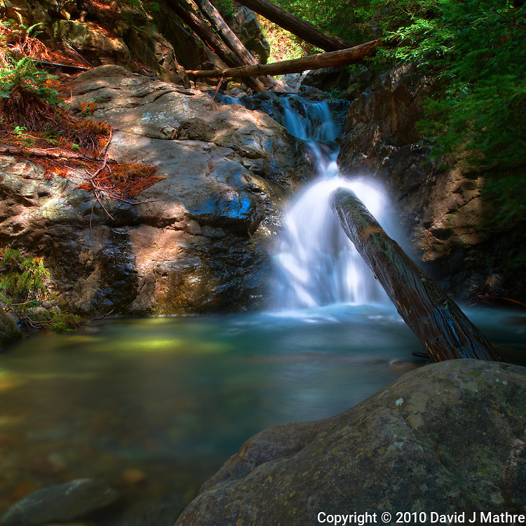 Redwood Gulch Waterfall, HDR Exercise. Image(s) taken with a Nikon D3x and 24 mm f/3.5 PC-E lens Singh-Ray filters (ISO 100, 24 mm, f/16, 2.5 to 30 sec). Raw image processed with Capture One Pro, HDR Express: Natural.
