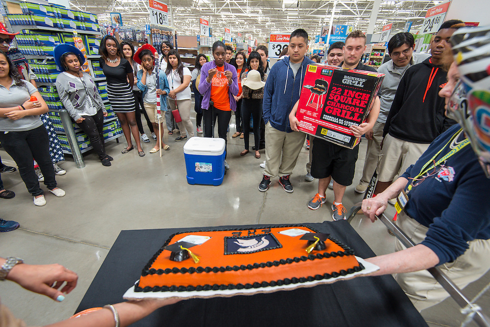Scarborough High School students learn about seasonal retial strategies at a Walmart store, May 22, 2014.