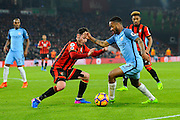 Raheem Sterling (7) of Manchester City runs into the box to set up the goal for Sergio Aguero (10) of Manchester City for a 2-0 lead to City during the Premier League match between Bournemouth and Manchester City at the Vitality Stadium, Bournemouth, England on 13 February 2017. Photo by Graham Hunt.