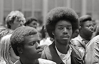 "Black Panther supporters at ""Free Huey Newton""Rally, Federal Building , San Francisco California  May 1969"