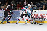 KELOWNA, CANADA - FEBRUARY 18: Tyrell Goulbourne #12 of the Kelowna Rockets skates with the puck against the  Red Deer Rebels at the Kelowna Rockets on February 18, 2012 at Prospera Place in Kelowna, British Columbia, Canada (Photo by Marissa Baecker/Shoot the Breeze) *** Local Caption ***