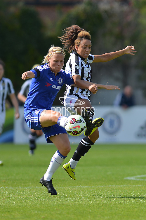Notts County Ladies forward Jess Clarke challenges Chelsea Ladies defender Gilly Flaherty during the FA Women's Super League match between Chelsea Ladies FC and Notts County Ladies FC at Staines Town FC, Staines, United Kingdom on 6 September 2015. Photo by Mark Davies.