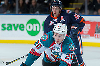 KELOWNA, CANADA - DECEMBER 27: Conner Bruggen-Cate #20 of the Kelowna Rockets skates for the puck against the Kamloops Blazers on December 27, 2017 at Prospera Place in Kelowna, British Columbia, Canada.  (Photo by Marissa Baecker/Shoot the Breeze)  *** Local Caption ***