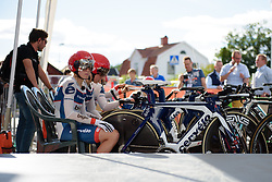Stephanie Pohl (Cervéo Bigla) eyes up the early metres of the course as the team wait to be called to the start ramp at the 42,5 km team time trial of the UCI Women's World Tour's 2016 Crescent Vårgårda Team Time Trial on August 19, 2016 in Vårgårda, Sweden. (Photo by Sean Robinson/Velofocus)