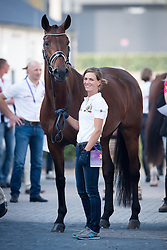 Verliefden Fanny, (BEL), Annarico<br /> Vet check dressage<br /> European Championschip Aachen 2015<br /> © Hippo Foto - Jon Stroud