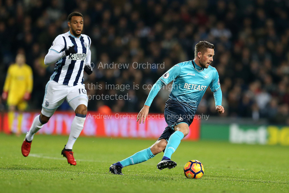 Gylfi Sigurdsson of Swansea city in action . Premier league match, West Bromwich Albion v Swansea city at the Hawthorns stadium in West Bromwich, Midlands on Wednesday 14th December 2016. pic by Andrew Orchard, Andrew Orchard sports photography.