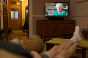 As the UK Coronavirus death toll rises by 621 to 4,934 and with worldwide cases passing 1.2m, Queen Elizabeth of great Britain addresses the nation on TV, thanking the health professionals of the NHS (National Health Service) and key workers for their work during the pandemic, on 5th April 2020, in London, England.