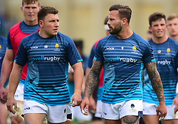 Francois Hougaard of Worcester Warriors Duncan Weir of Worcester Warriors - Mandatory by-line: Alex James/JMP - 28/09/2019 - RUGBY - Recreation Ground - Bath, England - Bath Rugby v Worcester Warriors - Premiership Rugby Cup
