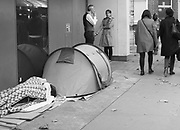Homeless tents in London. 18 October 2018