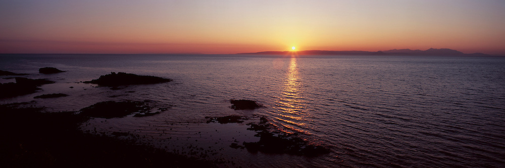 View overlooking the Isle of Arran just before dusk; from the village of Dunure on the South Ayrshire coast