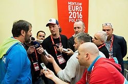 Veselin Vujovic, head coach of Slovenia with journalists after the handball match between National teams of Germany and Slovenia on Day 6 in Preliminary Round of Men's EHF EURO 2016, on January 20, 2016 in Centennial Hall, Wroclaw, Poland. Photo by Vid Ponikvar / Sportida