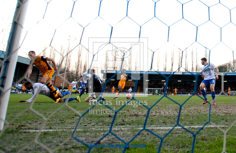 Chuba Akpom of Hull City scores his team's 1st goal to make it 1-0 during the FA Cup match at Gigg Lane, Bury<br /> Picture by Russell Hart/Focus Images Ltd 07791 688 420<br /> 30/01/2016
