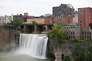 The Genesee River's High Falls in Rochester, New York on September 10, 2014.