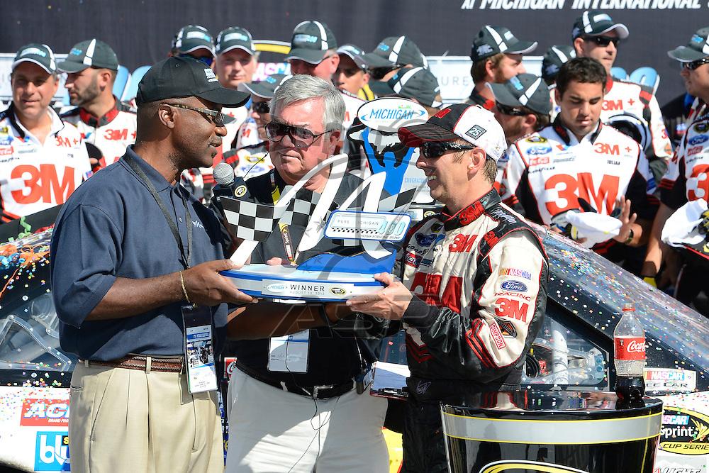 Brooklyn, MI  - Aug 19, 2012: Greg Biffle (16) wins the Pure Michigan 400 at Michigan International Speedway in Brooklyn, MI.