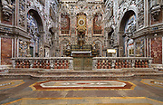 Choir and altar of the Church of St Catherine, or Chiesa di Santa Caterina, built 1566-96 in Sicilian Baroque, Rococo and Renaissance styles, by Giorgio di Faccio, Francesco Camilliani, Antonio Muttone and Francesco Ferrigno, in Palermo, Sicily, Italy. The church interior is Baroque, from the 17th and 18th centuries, with a wealth of colour and marble sculpture, bas reliefs and frescoes, with the theme of the life of St Catherine of Alexandria. Picture by Manuel Cohen