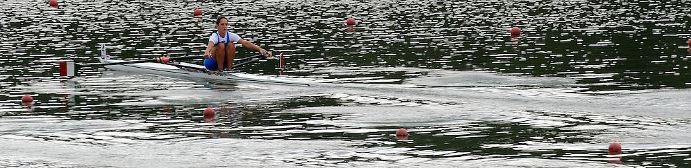 Ottensheim, AUSTRIA.  ITA JW1X,  move's away from the start pontoon, at the 2008 FISA Senior and Junior Rowing Championships,  Linz/Ottensheim. Wednesday,  23/07/2008.  [Mandatory Credit: Peter SPURRIER, Intersport Images]. Rowing Course: Linz/ Ottensheim, Austria