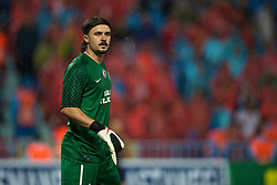 TRABZON, TURKEY - Thursday, August 26, 2010: Trabzonspor's goalkeeper Onur K?vrak in action against Liverpool during the UEFA Europa League Play-Off 2nd Leg match at the Huseyin Avni Aker Stadium. (Pic by: David Rawcliffe/Propaganda)