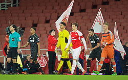 LONDON, ENGLAND - Friday, March 4, 2016: Liverpool's captain Trent Alexander-Arnold leads his side out to face Arsenal before the FA Youth Cup 6th Round match at the Emirates Stadium. (Pic by Paul Marriott/Propaganda)