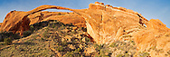 The 290 foot long landscape arch is the longest in the world. But it is also very fragile and could collapse at any time. In the 1990's the arch lost 3 large chunks one at a time. The trail you see in the picture has been off limits for over 20 years because of the danger from rock falls.<br />