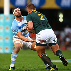 DURBAN, SOUTH AFRICA - AUGUST 18: Marcos Kremer of Argentina looks to tackle Malcolm Marx of South Africa during the Rugby Championship match between South Africa and Argentina at Jonsson Kings Park on August 18, 2018 in Durban, South Africa. (Photo by Steve Haag/Gallo Images)