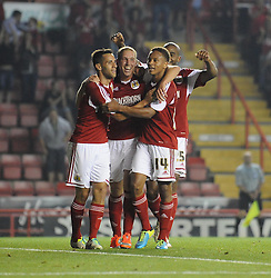 Bristol City's Scott Wagstaff celebrates with his team mates after scoring.  - Photo mandatory by-line: Dougie Allward/JMP - Tel: Mobile: 07966 386802 27/08/2013 - SPORT - FOOTBALL - Ashton Gate - Bristol - Bristol City V Crystal Palace -  Capital One Cup - Round 2
