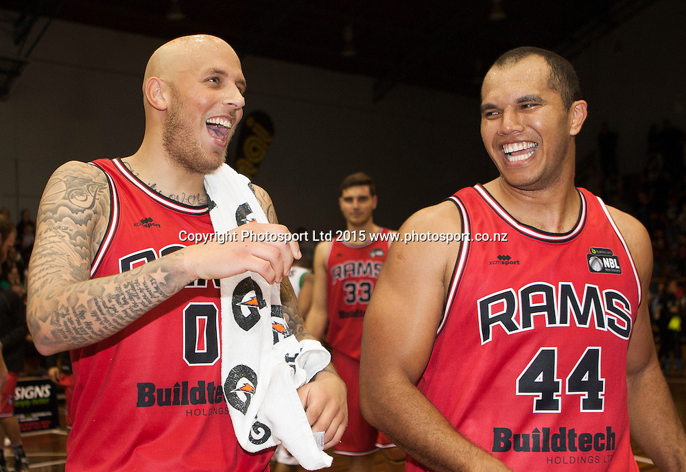 Richie Edwards of the Rams and Marques Whippy celebrate following the National Basketball League game between the Canterbury Rams v Manawatu Jets at Cowles Stadium in Christchurch. 10th April 2015 Photo: Joseph Johnson/www.photosport.co.nz