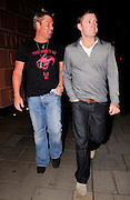 11.AUGUST.2009 - LONDON<br /> <br /> AUSTRALIAN CRICKET LEGEND SHANE WARNE AND CURRENT AUSTRALIAN CRICKETER STAR MICHAEL CLARKE LEAVING CIPRIANI RESTAURANT, MAYFAIR.<br /> <br /> BYLINE: EDBIMAGEARCHIVE.COM<br /> <br /> *THIS IMAGE IS STRICTLY FOR UK NEWSPAPERS &amp; MAGAZINES ONLY*<br /> *FOR WORLDWIDE SALES &amp; WEB USE PLEASE CONTACT EDBIMAGEARCHIVE - 0208 954 5968*