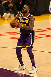 February 27, 2019 - Los Angeles, CA, U.S. - LOS ANGELES, CA - FEBRUARY 27: Los Angeles Lakers Forward LeBron James (23) shoots a free throw during second half of the New Orleans Pelicans versus Los Angeles Lakers game on February 27, 2019, at Staples Center in Los Angeles, CA. (Photo by Icon Sportswire) (Credit Image: © Icon Sportswire/Icon SMI via ZUMA Press)