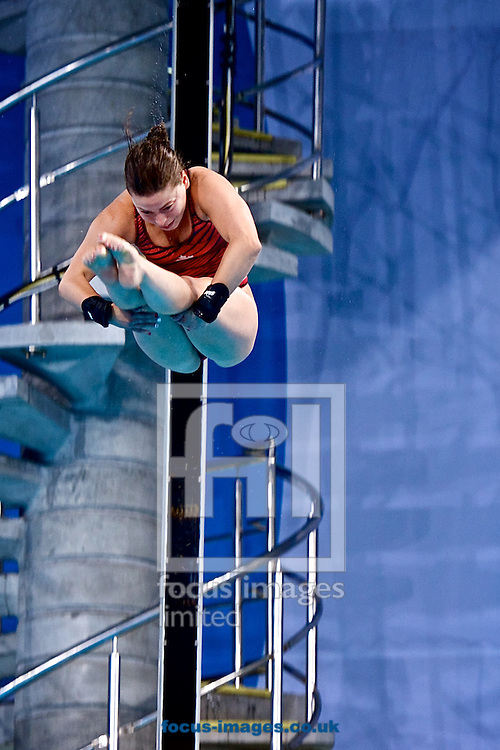 Gold medalist Meaghan Benfeito of Canada pictured during the Women's 10 Metre Platform Final on Diving Day Two at Royal Commonwealth Pool during Glasgow 2014 Commonwealth Games <br /> Picture by Ian Wadkins/Focus Images Ltd +44 7877 568959<br /> 31/07/2014