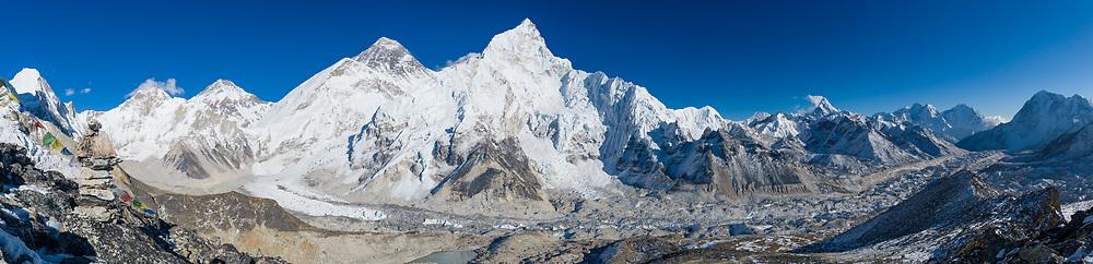 Panorama from Kala Pattar (5445 m) over the Khumbu Glacier, Nepal (digital composite). Photo © robertvansluis.com